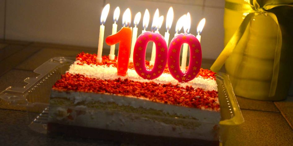 Photo of a 100 year birthday cake