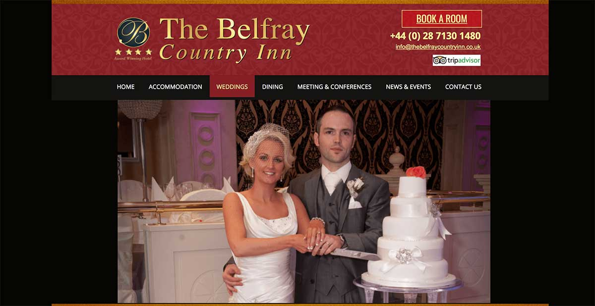 Screenshot of the Belfry Country Inn and wedding venue Derry