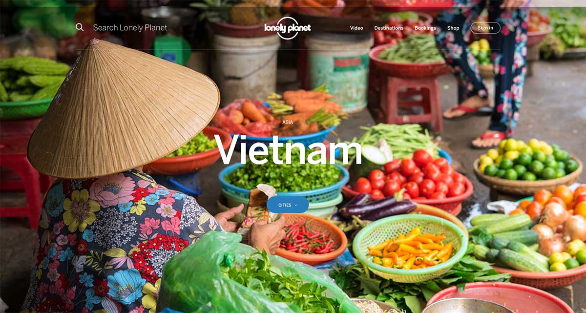 Screenshot of the Vietnam page of the Lonely Planet website