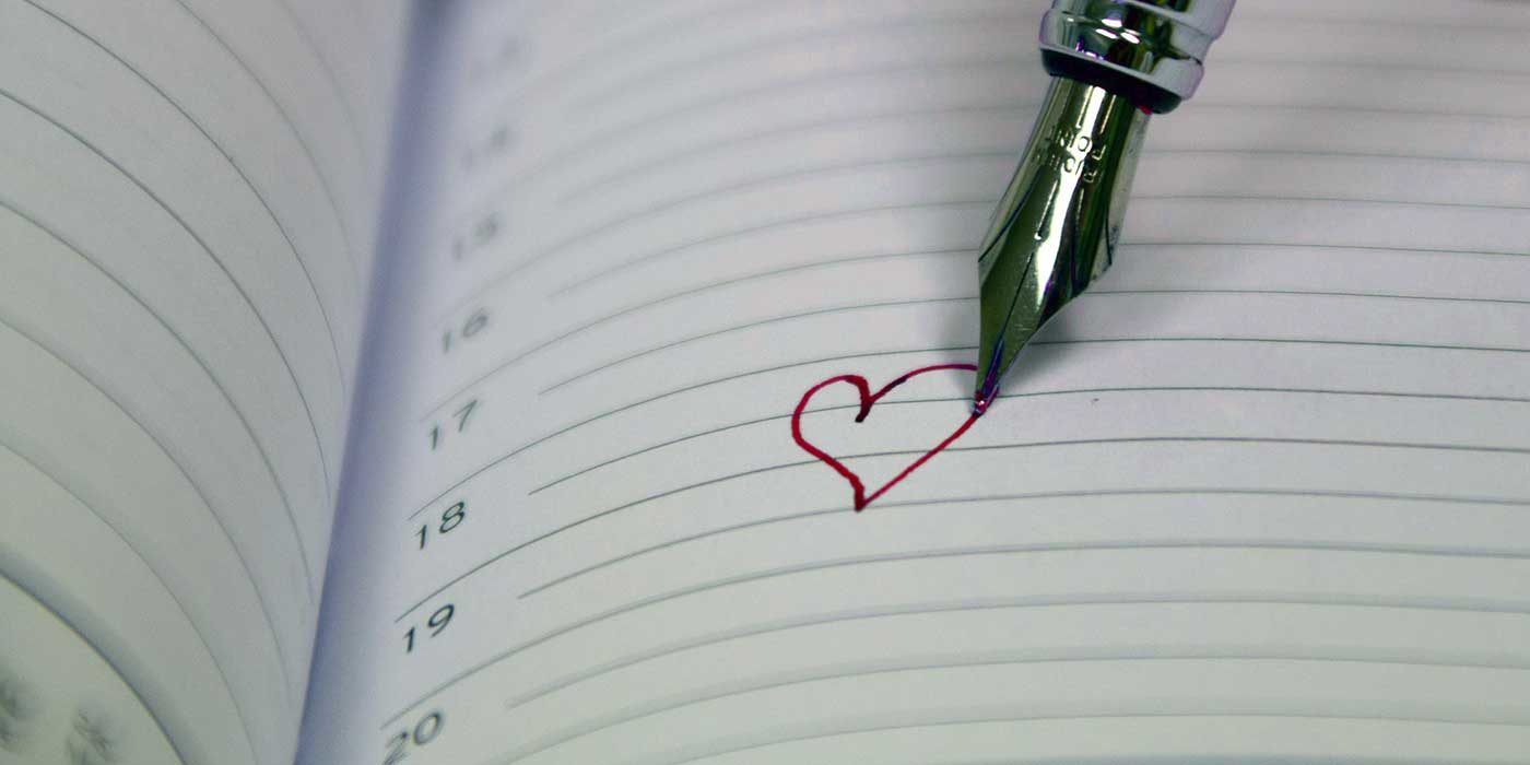 Photo of a heart drawing on a page