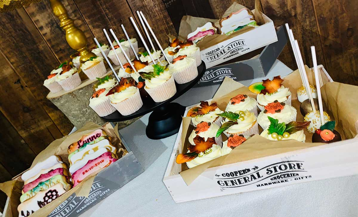 Photo of cupcake and biscuits at Lynne and Adam's wedding reception