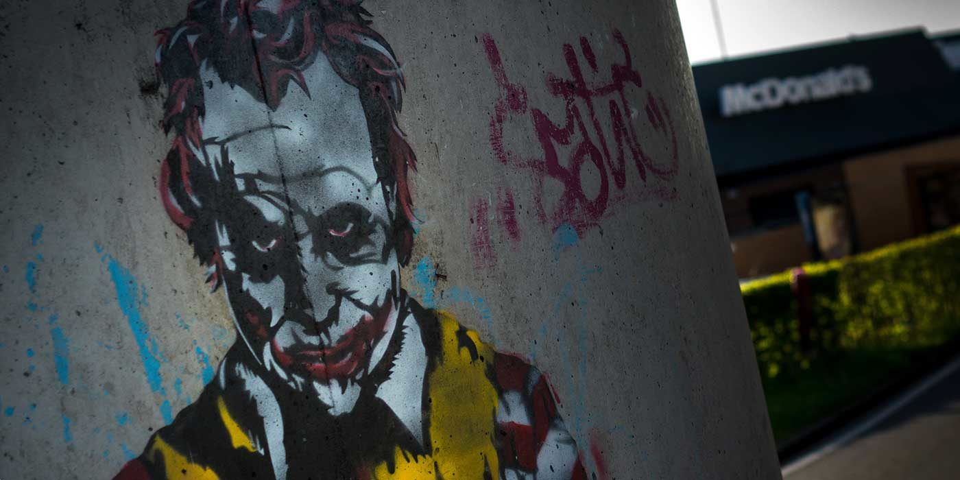 Photo of a mural of the Joker