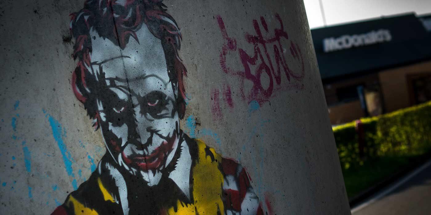 Photo of a mural of the Joker