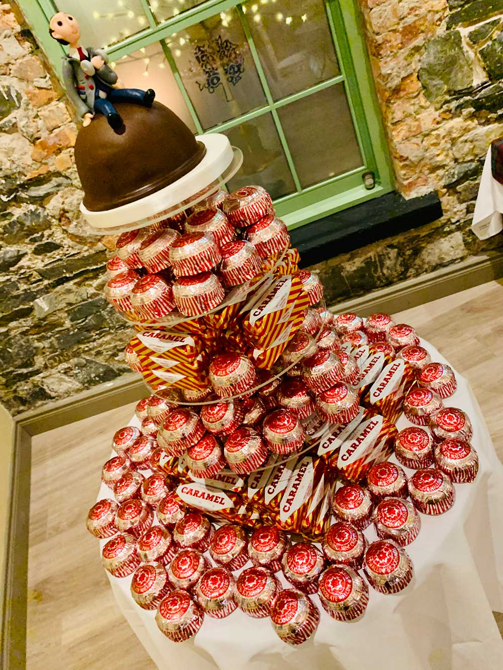 Photo of a wedding cake made from Tunnocks teacakes and caramel wafers