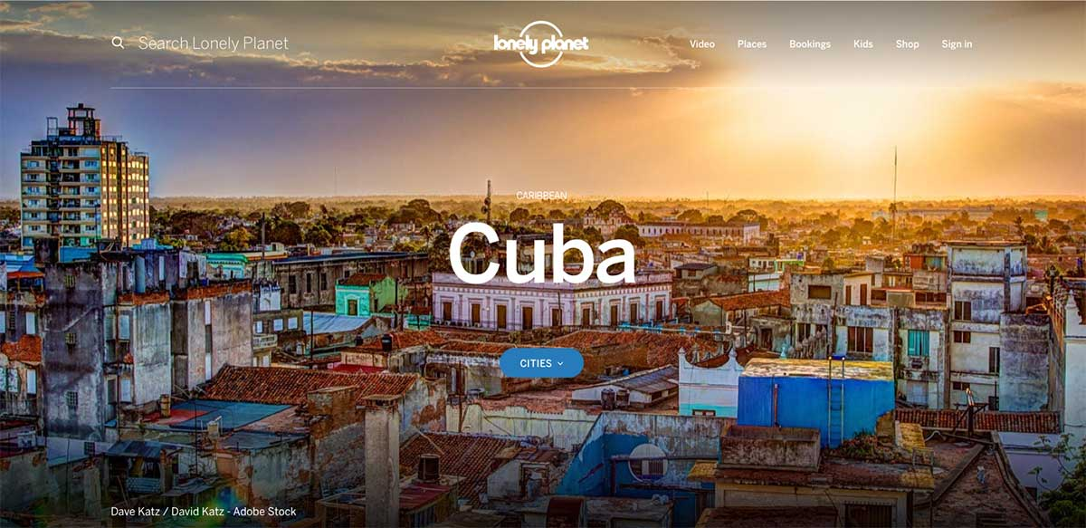 Screenshot of the Cuba page from the Lonely Planet website