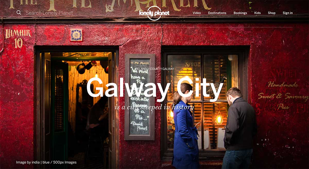 Screenshot of the Galway page of the Lonely Planet website