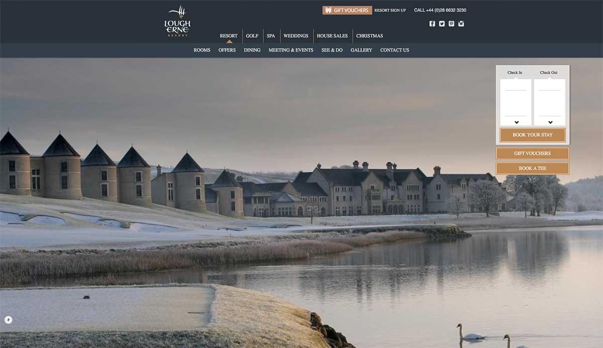 Screenshot of the Lough Erne Resort and wedding venue Ennisiillen County Fermanagh website