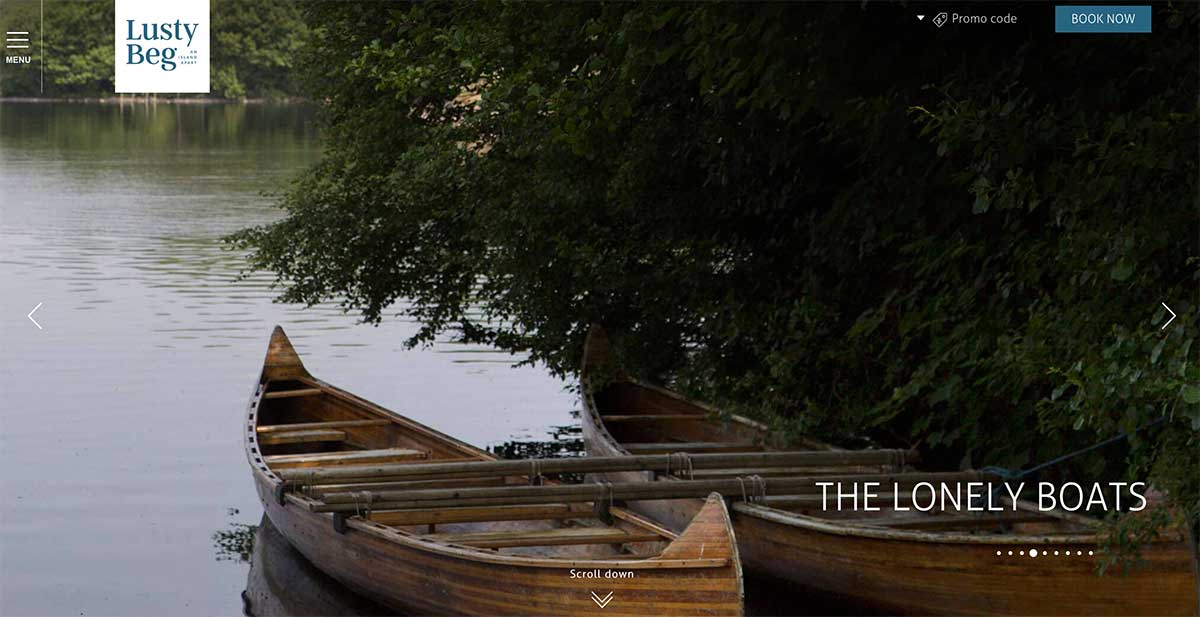 Screenshot of the Lusty Beg Island and Wedding venue Kesh Fermanagh website