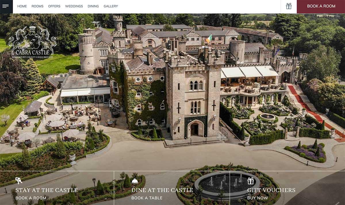 Screenshot of the Cabra Castle and wedding venue website Kingscourt County Cavan