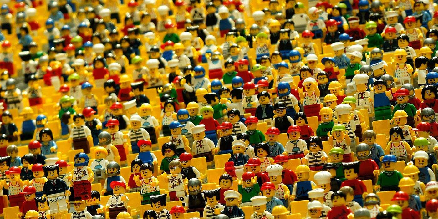 Photo of a crowd of lego figures