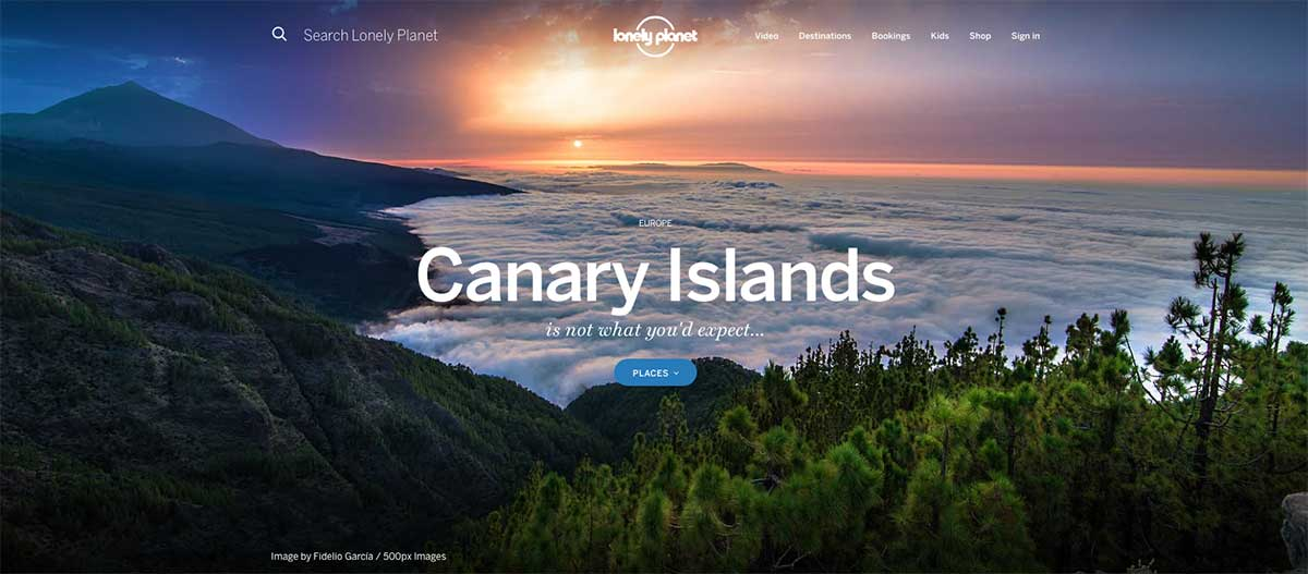 Screenshot of the Canary Islands page of the Lonely Planet website
