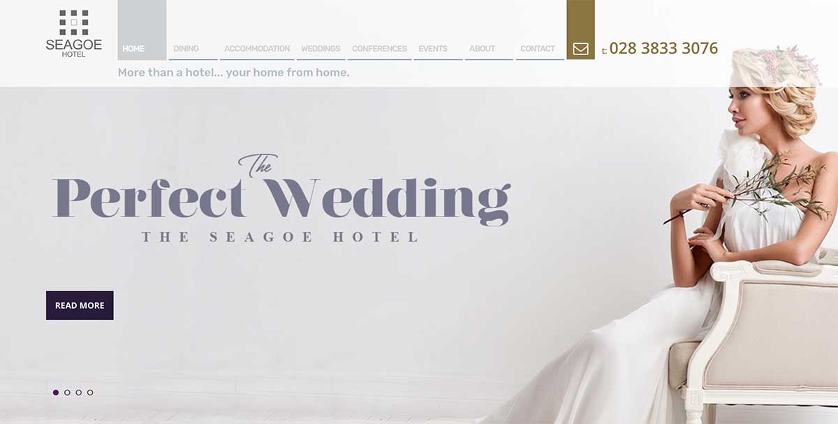 Screenshot of the Seagoe Hotel and wedding venue Portadown County Armagh website