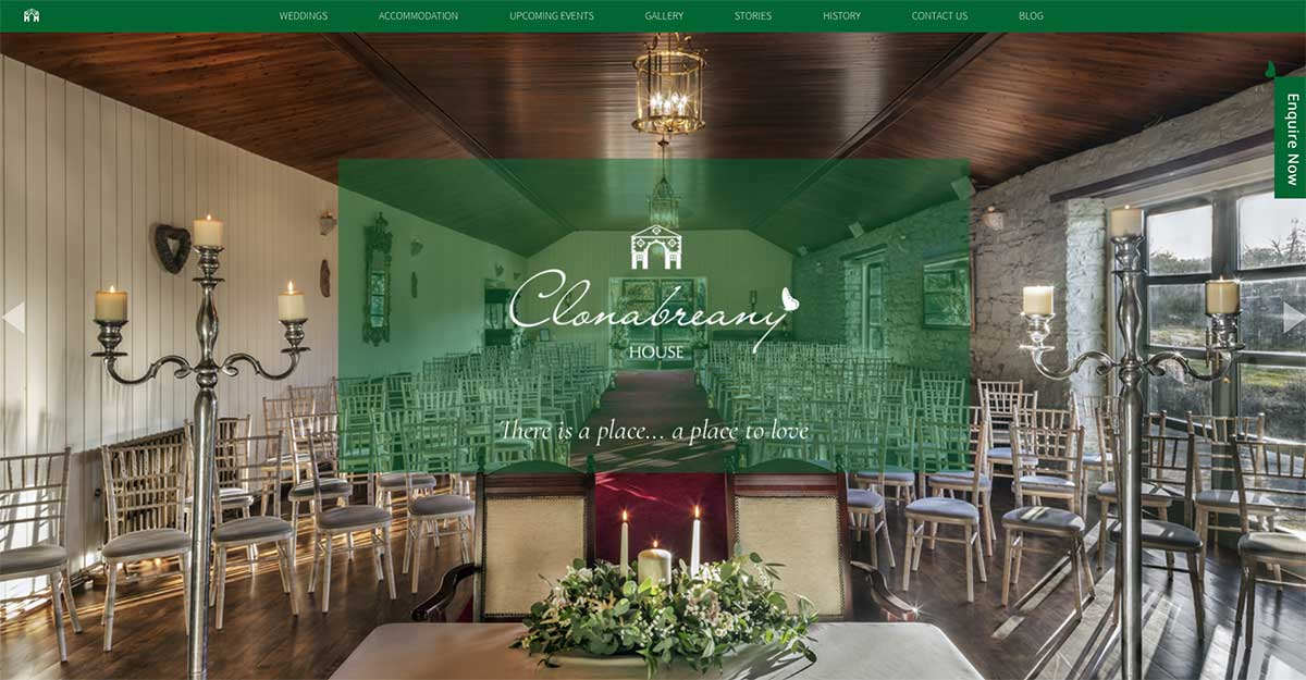 Screenshot of the Clonabreany House and wedding venue Kells County Meath website
